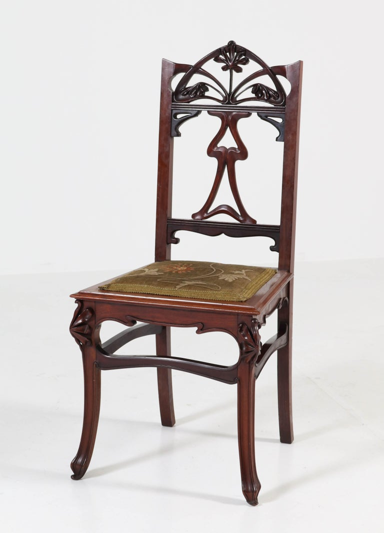 Set Of Six Mahogany French Art Nouveau Chairs 1900s At 1stdibs
