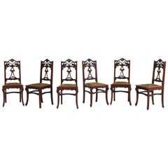Set of Six Mahogany French Art Nouveau Chairs, 1900s