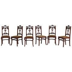 Set of Six Mahogany French Art Nouveau Chairs, 1900s