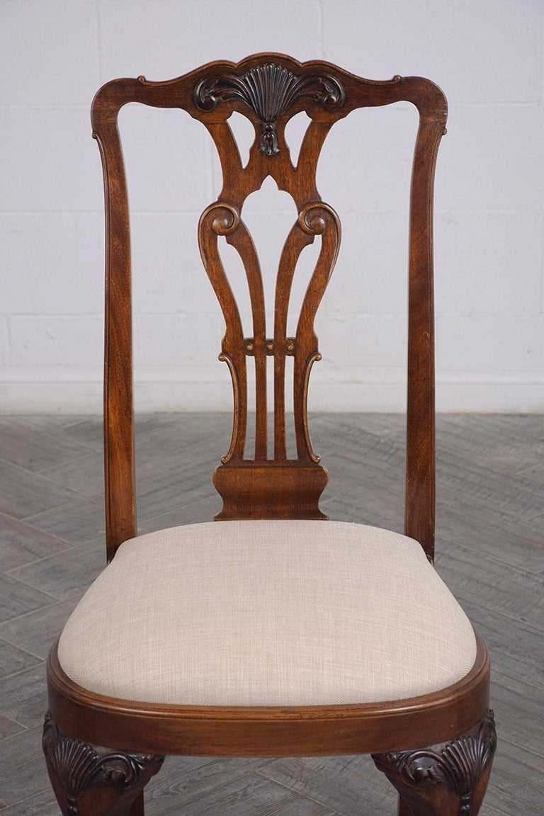 Carved Set of Mahogany Regency Dining Chairs For Sale