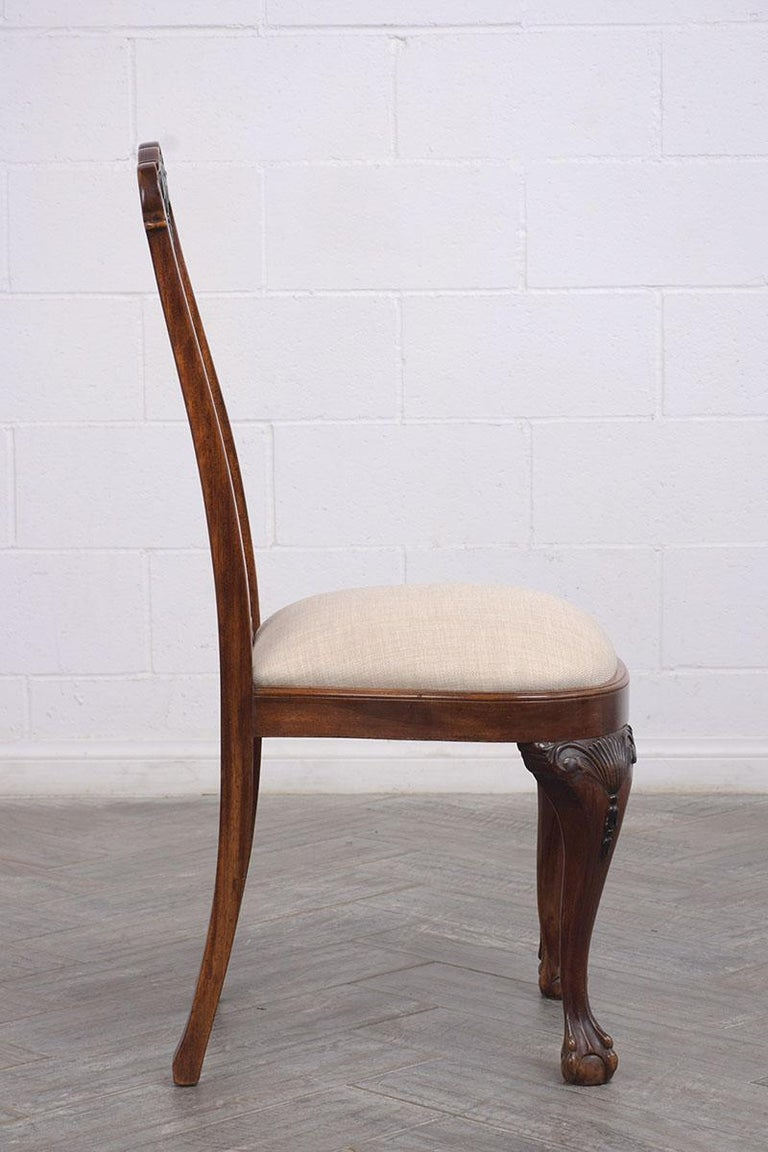 Polyester Set of Mahogany Regency Dining Chairs For Sale