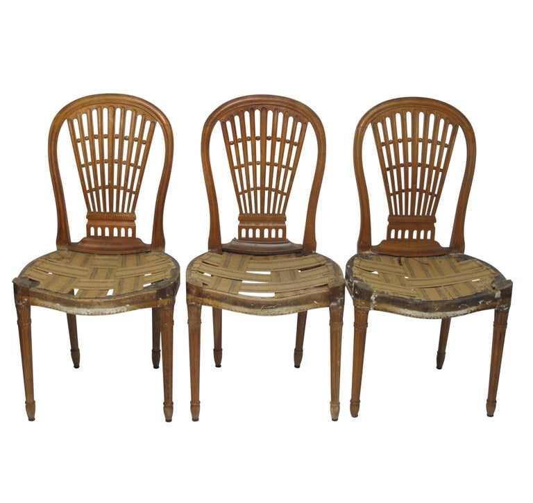 Wood Set of Six Maison Jansen Balloon Back Dining Side Chairs, Early 20th Century For Sale