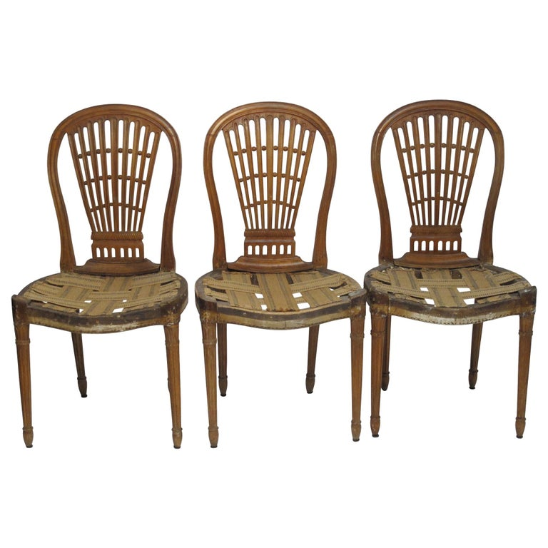 Set of Six Maison Jansen Balloon Back Dining Side Chairs, Early 20th Century For Sale