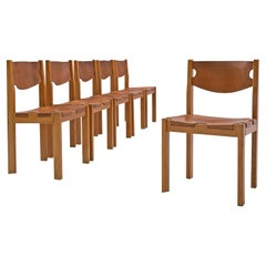 Set of Six Maison Regain Dining Chairs in Cognac Leather