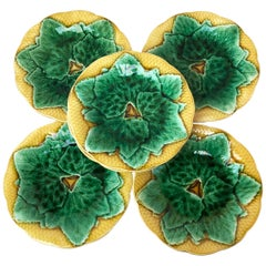 Set of Six Majolica Leaves Plates Gien, circa 1880