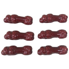 Set of Six Majolica Poddles Dogs Knife Rests Vallauris, circa 1950