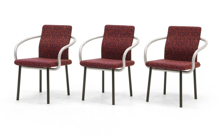 Set of six dining chairs designed by Ettore Sottsass, the founder of the Memphis Group, Milan, Italy. These chairs are in very good completely original condition. Super sturdy construction, featuring bentwood one piece arms that wrap under and