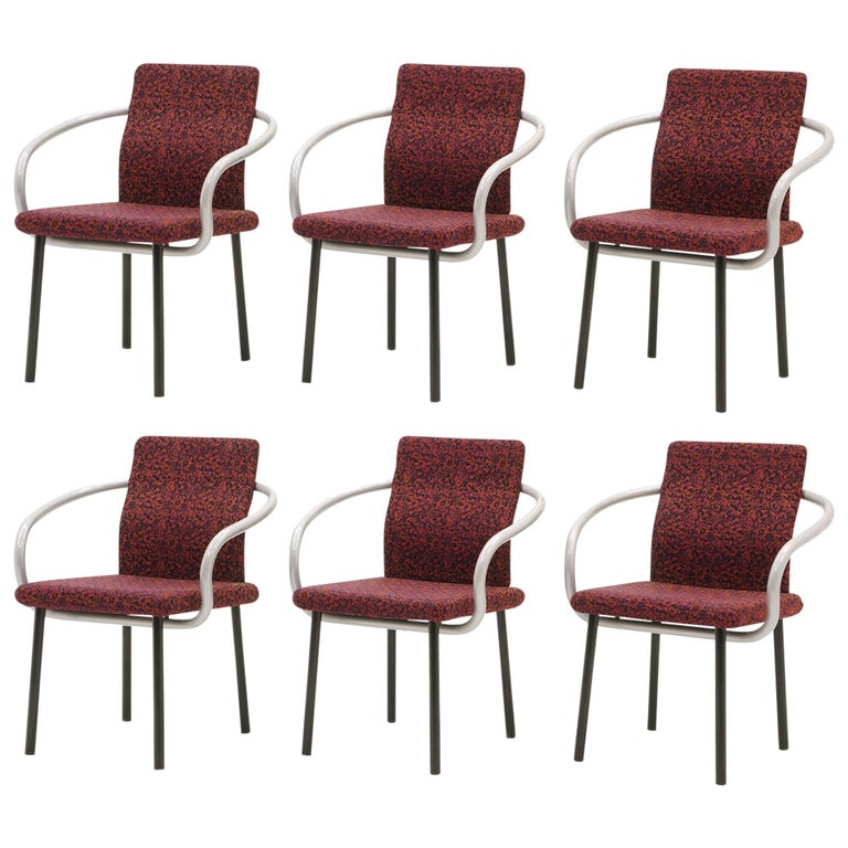 Set of Six Mandarin Dining Chairs by Ettore Sottsass for Knoll For Sale