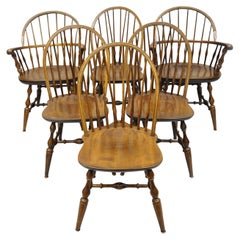 Set of Six Maple Nichols & Stone American Colonial Windsor Spindle Dining Chairs