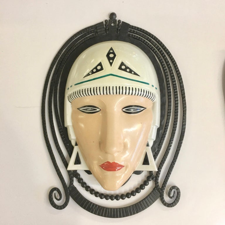 Set of Six Marcel Bever Art Deco Mask Wall Lights For Sale 7