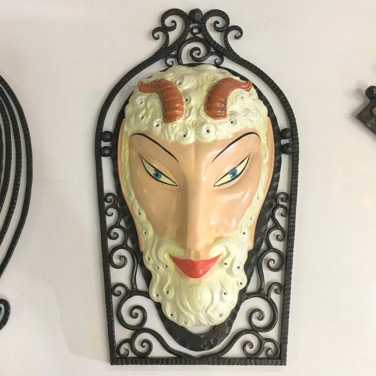 Set of Six Marcel Bever Art Deco Mask Wall Lights For Sale 8