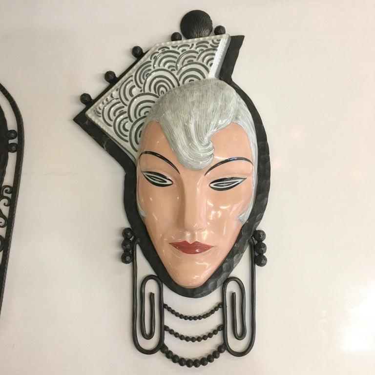 Set of Six Marcel Bever Art Deco Mask Wall Lights For Sale 9