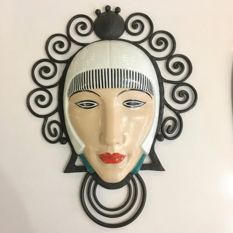 Set of Six Marcel Bever Art Deco Mask Wall Lights For Sale 10
