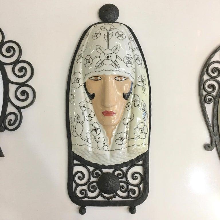 Set of Six Marcel Bever Art Deco Mask Wall Lights For Sale 11