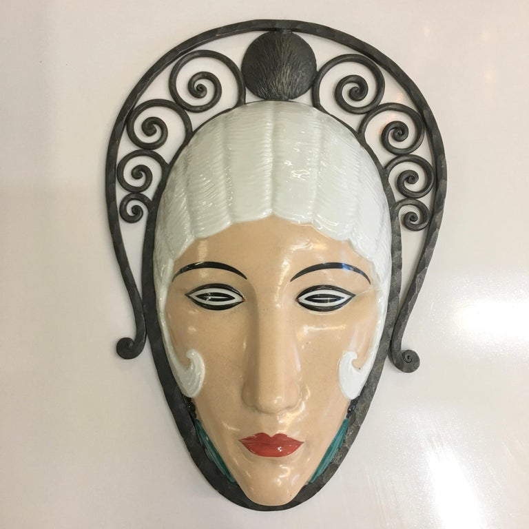 Set of Six Marcel Bever Art Deco Mask Wall Lights For Sale 12