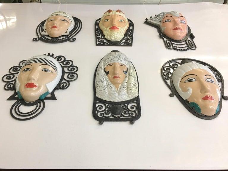 Set of Six Marcel Bever Art Deco Mask Wall Lights For Sale 13