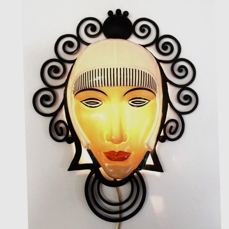 Porcelain Set of Six Marcel Bever Art Deco Mask Wall Lights For Sale