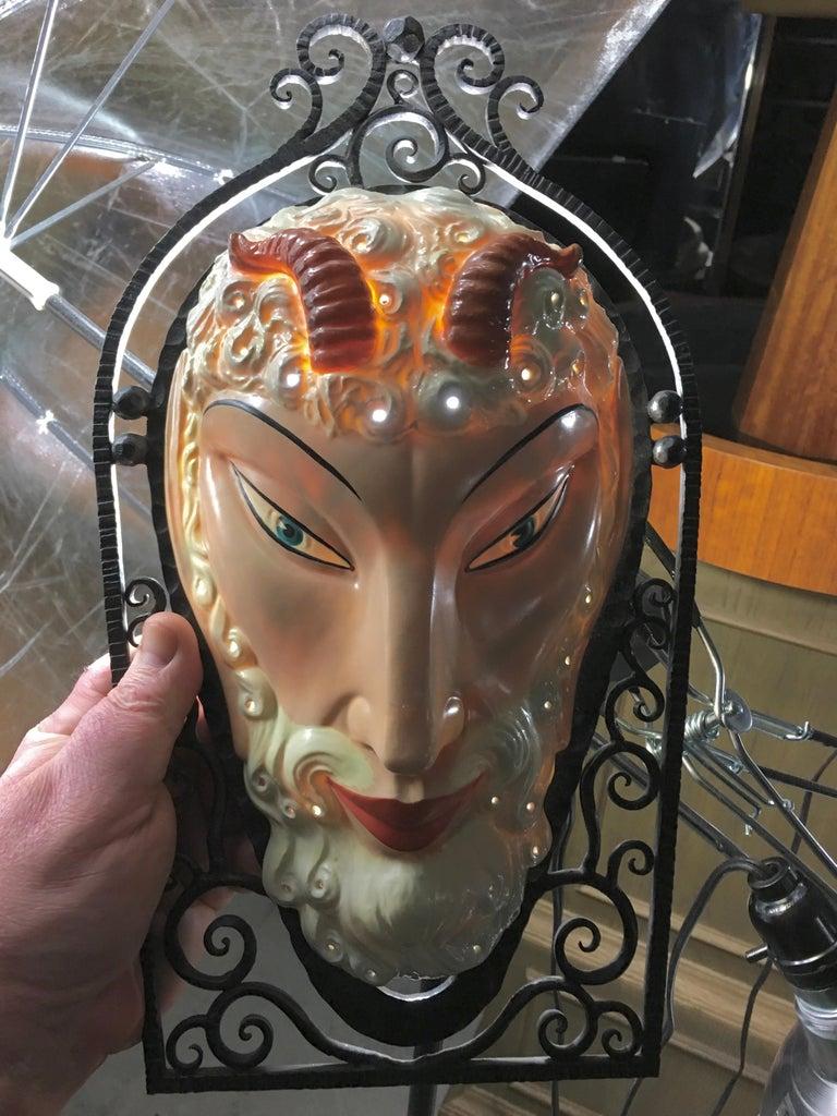 Set of Six Marcel Bever Art Deco Mask Wall Lights For Sale 1