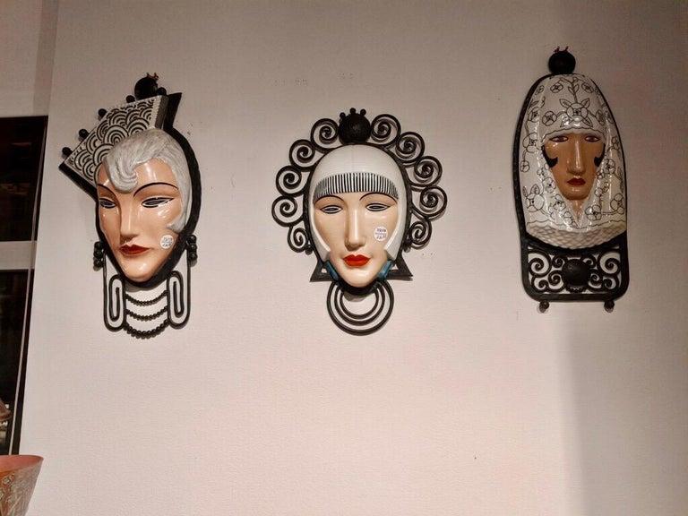 Set of Six Marcel Bever Art Deco Mask Wall Lights For Sale 2