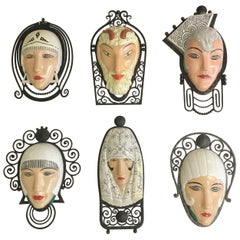 Set of Seven Marcel Bever Art Deco Mask Wall Lights