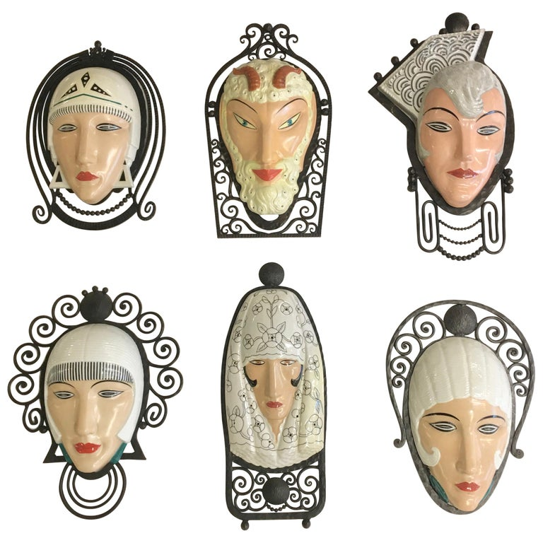 Set of Six Marcel Bever Art Deco Mask Wall Lights For Sale