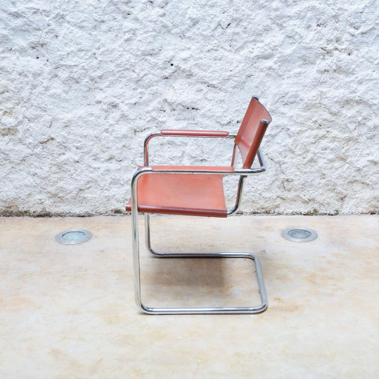 Set of Six Marcel Breuer Metal and Leather MG5 Chairs by Matteo Grassi For Sale 4