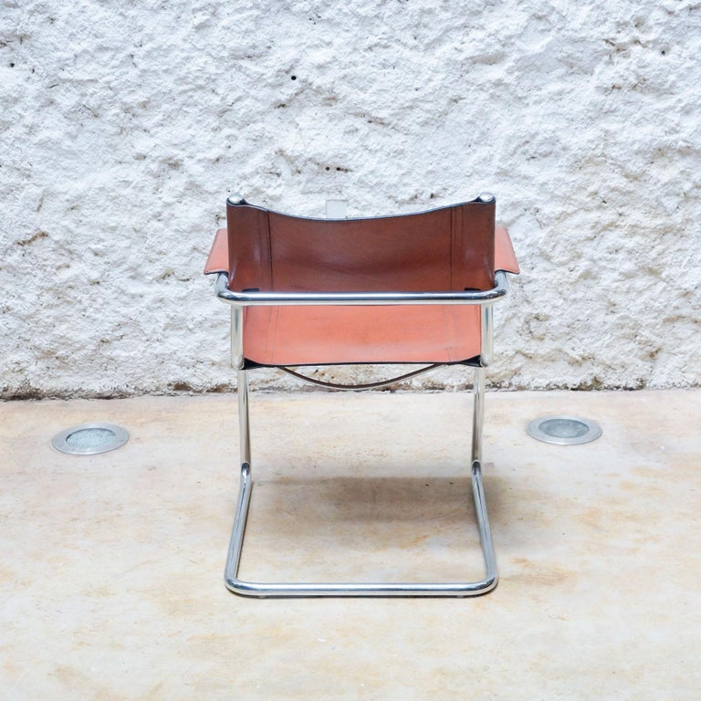 Set of Six Marcel Breuer Metal and Leather MG5 Chairs by Matteo Grassi For Sale 5