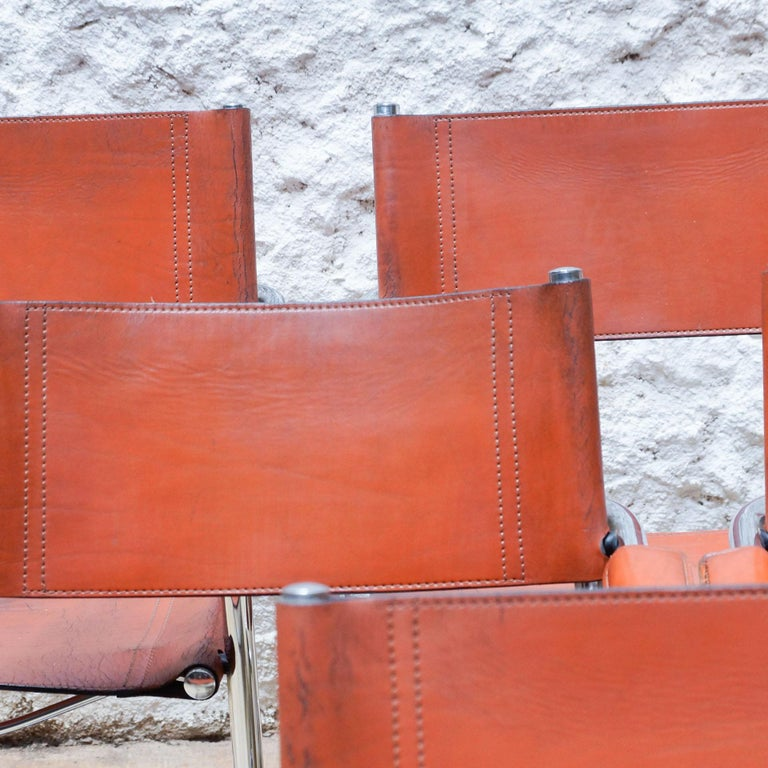 Bauhaus Set of Six Marcel Breuer Metal and Leather MG5 Chairs by Matteo Grassi For Sale