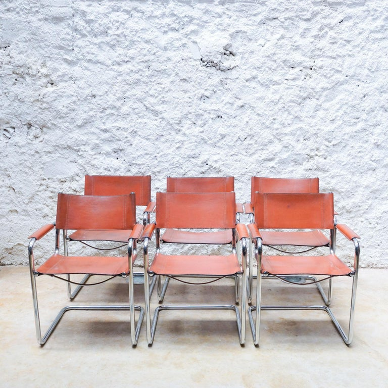 Steel Set of Six Marcel Breuer Metal and Leather MG5 Chairs by Matteo Grassi For Sale