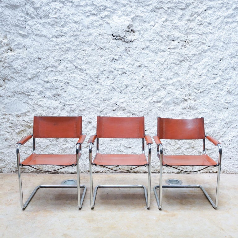 Set of Six Marcel Breuer Metal and Leather MG5 Chairs by Matteo Grassi For Sale 1