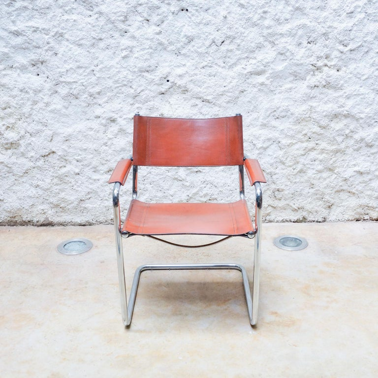 Set of Six Marcel Breuer Metal and Leather MG5 Chairs by Matteo Grassi For Sale 2