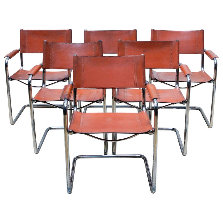 Set of Six Marcel Breuer Metal and Leather MG5 Chairs by Matteo Grassi For Sale