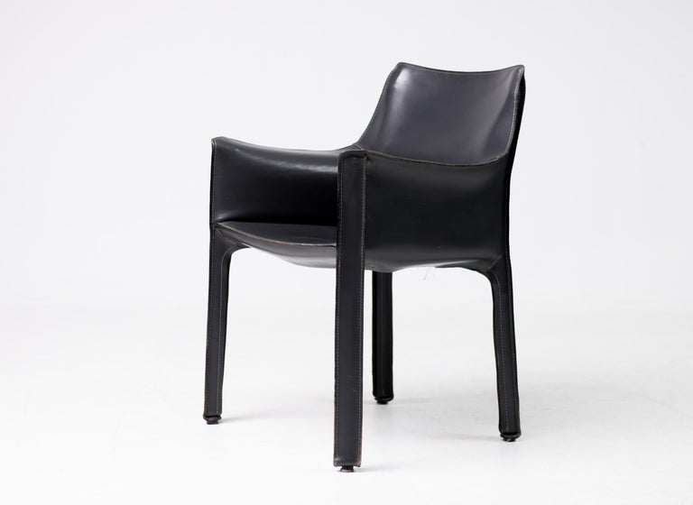 Mid-Century Modern Set of Six Mario Bellini Cab Chairs for Cassina For Sale