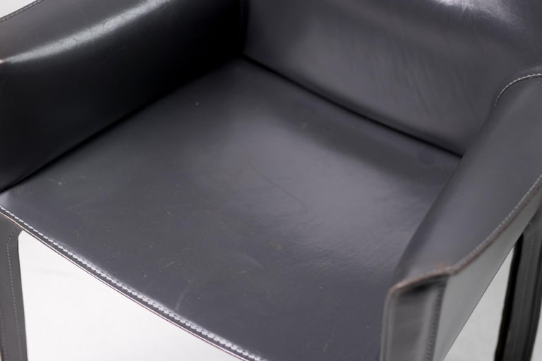 Leather Set of Six Mario Bellini Cab Chairs for Cassina For Sale