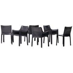 Set of Six Mario Bellini Cab Chairs for Cassina