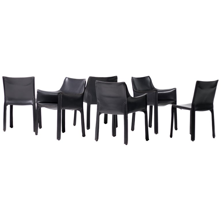 Set of Six Mario Bellini Cab Chairs for Cassina For Sale