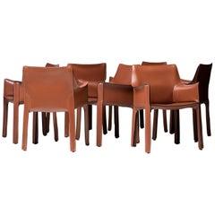 Set of Six Mario Bellini Cognac Leather Cassina Cab Armchairs