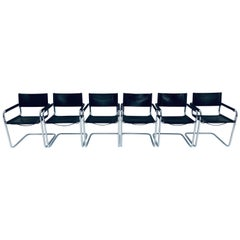 Set of Six Mart Stam Chrome and Leather Armchairs for Fasem