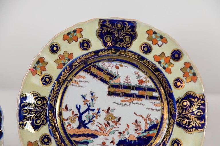 English Set of Six Mason's Ironstone Dinner Plates For Sale