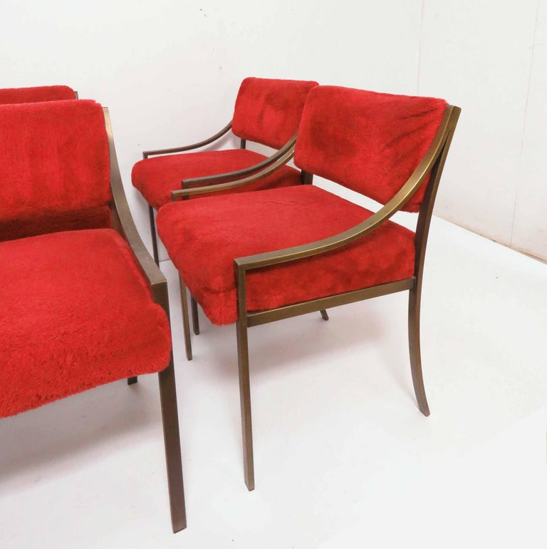 Mid-Century Modern Set of Six Mastercraft Style Dining Chairs, circa 1970s For Sale