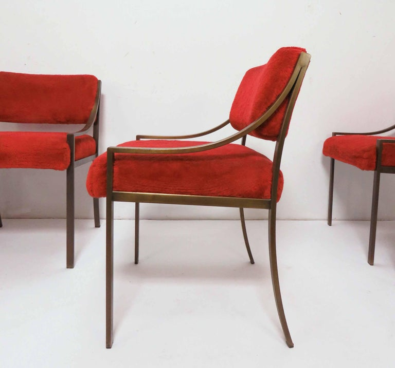 Upholstery Set of Six Mastercraft Style Dining Chairs, circa 1970s For Sale