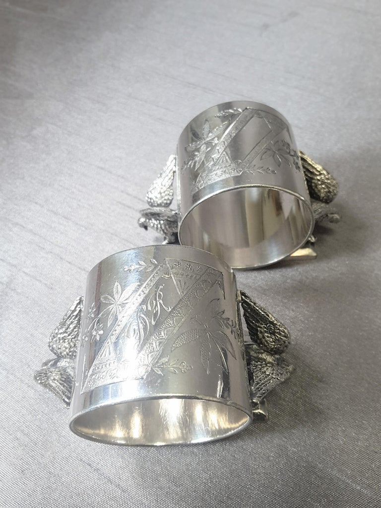 19th Century Set of Six Matching Meriden Figural Twin Dove Napkin Rings For Sale