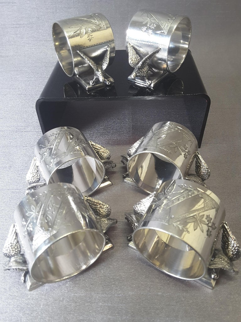 Set of Six Matching Meriden Figural Twin Dove Napkin Rings For Sale 1