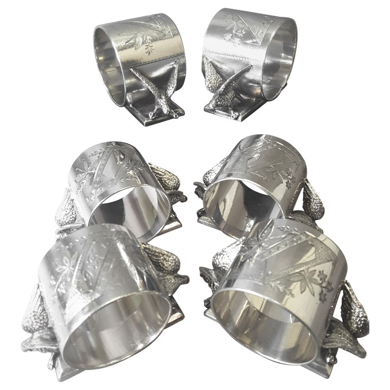Set of Six Matching Meriden Figural Twin Dove Napkin Rings For Sale
