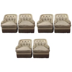 Set of Six Matching Tufted Fringe Trim Tufted Club Chairs