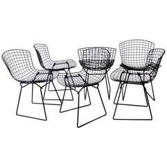 Set of Six Matte Black Harry Bertoia for Knoll Dining Chairs