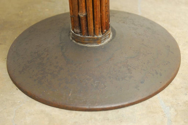 Set of Six McGuire Bamboo and Marble Bistro Tables For Sale 1