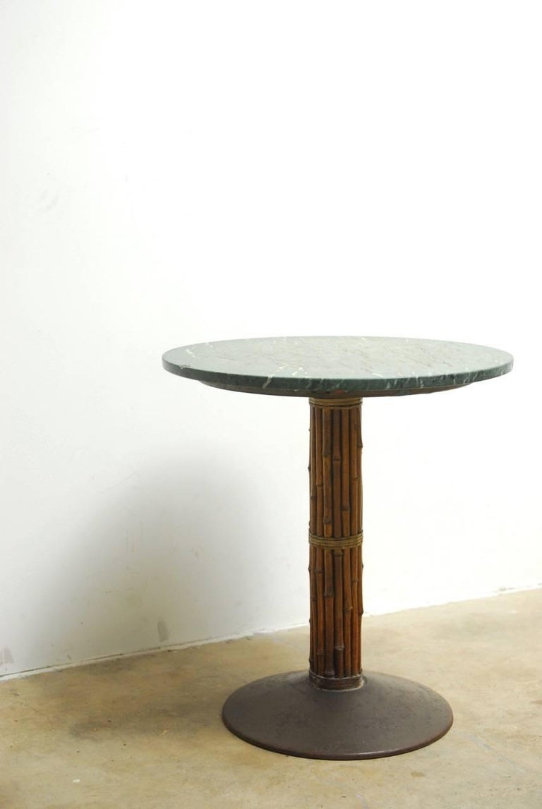 Set of Six McGuire Bamboo and Marble Bistro Tables For Sale 3