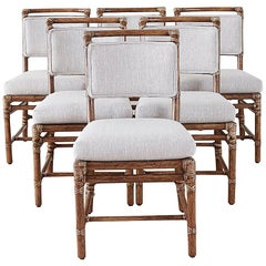 Set of Six McGuire California Modern Bamboo Rattan Dining Chairs