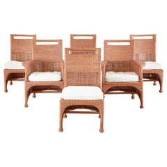 Set of Six McGuire Coral Wicker Rattan Dining Chairs